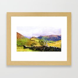 Stile over a Dry Stone Wall, Lake District, UK. Watercolour Painting Framed Art Print