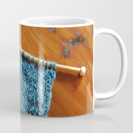 knitting photo, denim, denim photo, blue, wood, knitting, knit, brown, Coffee Mug