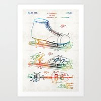 blackhawks Art Prints featuring Ice Skate Patent - Sharon Cummings by Sharon Cummings