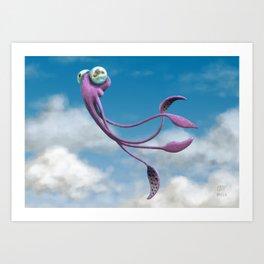 Choco the Sky Squid Art Print