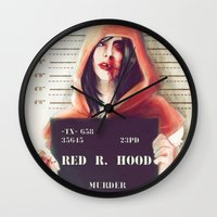 red riding hood Wall Clocks featuring Red Riding Hood by adroverart