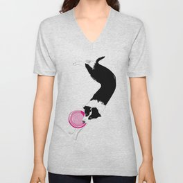 Disc Dog - Border Collie Unisex V-Neck
