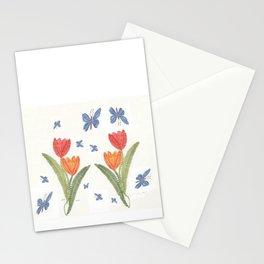 Tulipes et papillon en dentelle Stationery Cards