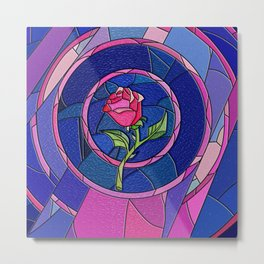 Rose Flower Stained Glass Metal Print