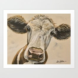 Cute Cow Art, Up close Cow Art Art Print