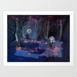 Meeting in the Sakura Woods Art Print