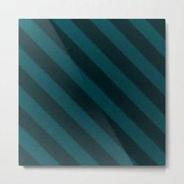 Vintage Candy Stripe Turquoise Teal Grunge Stripes Metal Print