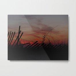 Fallen Down Fence Sunset Metal Print