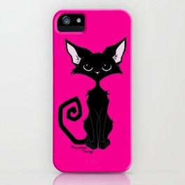 Black Cat - Hot Pink iPhone Case