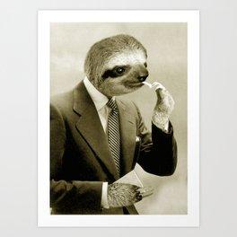 Sloth lighting a cigarette Art Print