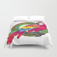parrot Duvet Covers featuring parrot by Elena Trupak