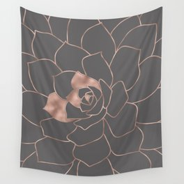 Rosegold  blossom on grey - Pink metal - effect flower Wall Tapestry