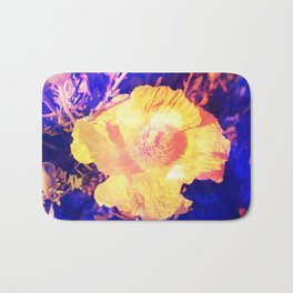 Eerie purple and yellow Poppy blossom Bath Mat