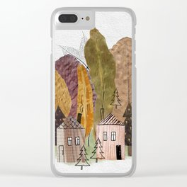 Autumn leaves, houses and spruces. Clear iPhone Case