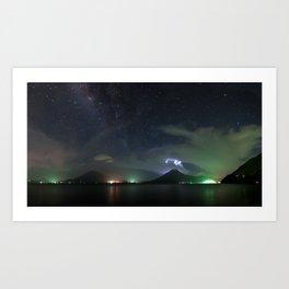 Milky Way Volcanoes Art Print