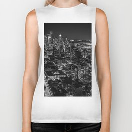 Seattle from the Space Needle in Black and White Biker Tank