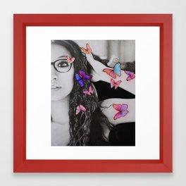 self-portrait with butterflies Framed Art Print