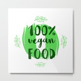 Hand-drawn typographic elements for design. Natural products and vegan food labels Metal Print