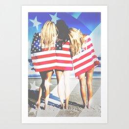 Sexy Americana Beach Girls Art Print