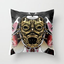 Robot Geisha V2 Throw Pillow