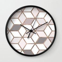 Golden Cubes I Wall Clock