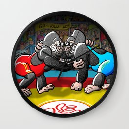 Olympic Wrestling Gorillas Wall Clock