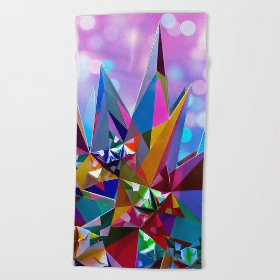 Festive colorful crystals Beach Towel