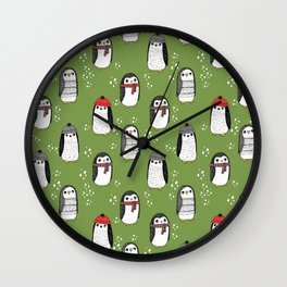 Christmas penguin cute animal pattern winter holiday gifts Wall Clock