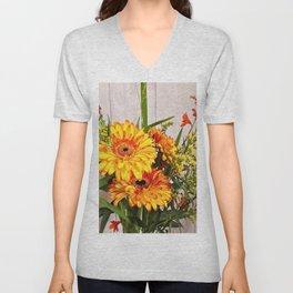 orange daisies buquet Unisex V-Neck