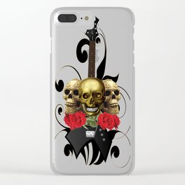 Red Rose Skull Rock and Roll Clear iPhone Case
