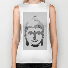 Buddha Head grey black Design Biker Tank