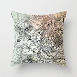 Butterfly Mandala Throw Pillow