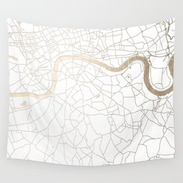White on Gold London Street Map Wall Tapestry