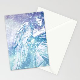 Celestial Guardian Angel Periwinkle Blue Stationery Cards