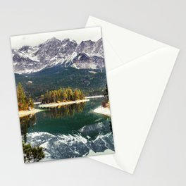 Green Blue Lake, Trees and Mountains Stationery Cards