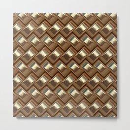 Metal Weave golden Metal Print