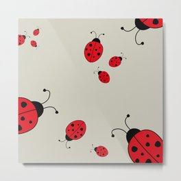 Ladybugs-Beige+Red Metal Print
