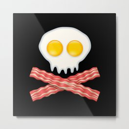 Skull With Crossed Bacon  Skull Bacon Eggs Metal Print