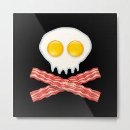 Skull With Crossed Bacon  Skull Bacon Eggs Metal Print