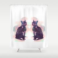 egyptian Shower Curtains featuring Egyptian cat  by Vita♥G