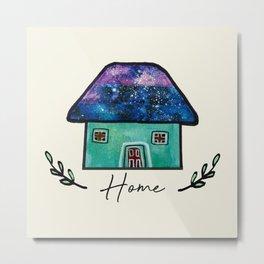 Hand Painted Watercolor Milky Way Roof Top Houses Metal Print