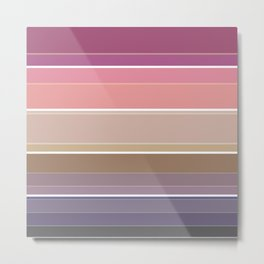 Simple striped pattern in bright crimson, beige and grey tones Metal Print