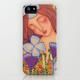 Woman with Butterflies iPhone Case
