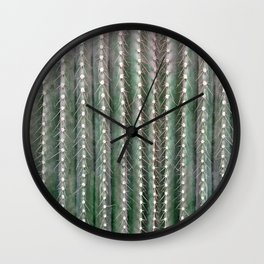 CACTUS NEEDLES PATTERN, closeup green succulent Wall Clock