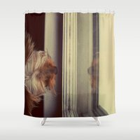 yorkie Shower Curtains featuring Yorkie Daydreaming by Jonora Fabrics