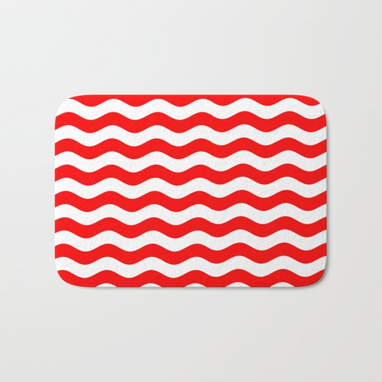 Wavy Stripes (Red/White) Bath Mat