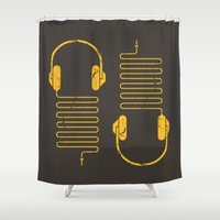 edm Shower Curtains featuring Gold Headphones by Sitchko Igor