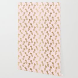 Pink & Gold Pineapples Wallpaper