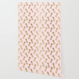 Pink & Gold Pineapples Pattern Wallpaper