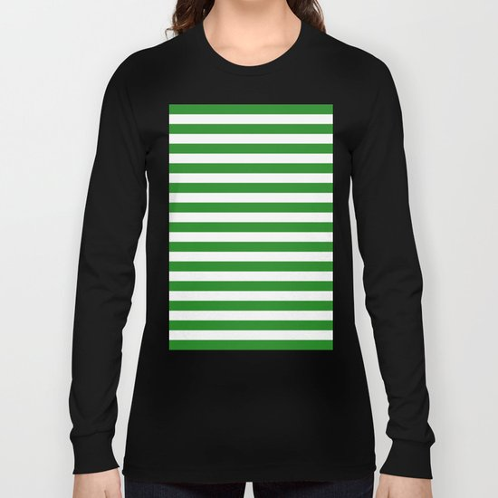 Horizontal Stripes (Forest Green/White) Long Sleeve T-shirt